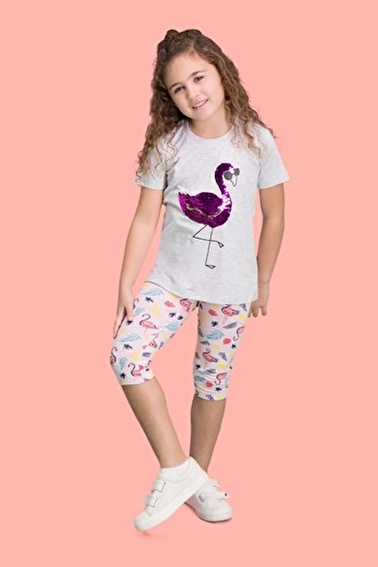Roly Poly Rolypoly Payet Pelican Pembe Kız Çocuk Kapri Takım Gri